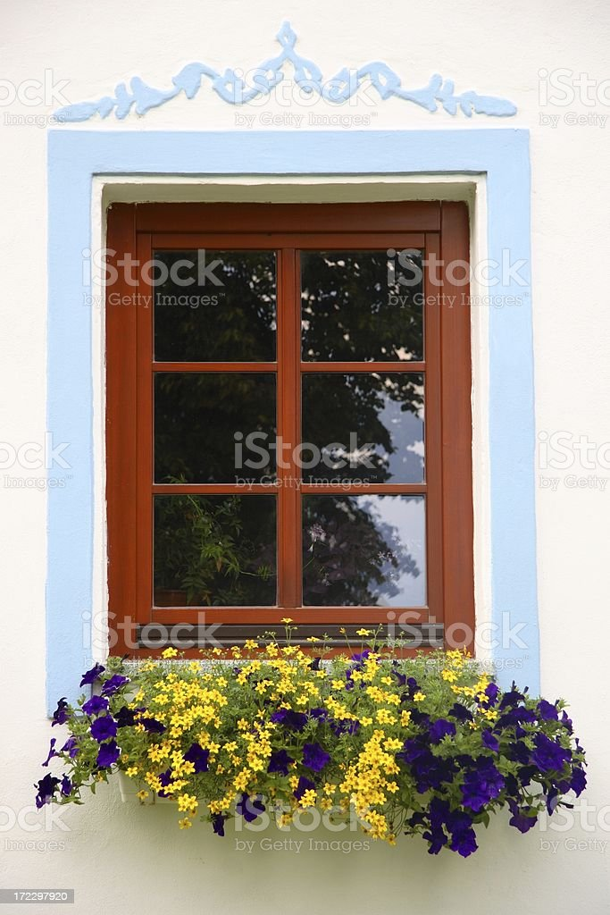 Decorative window with flower box stock photo