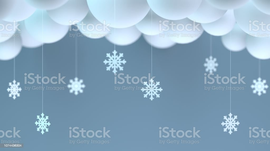 Decorative winter clouds and snowflakes stock photo