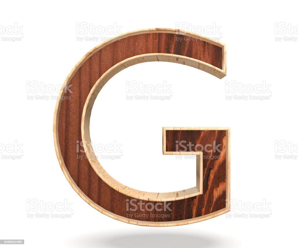 3D decorative wooden Alphabet, capital letter G stock photo