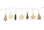 istock Decorative Wooden and painted funny Christmas trees with led light 1191753441