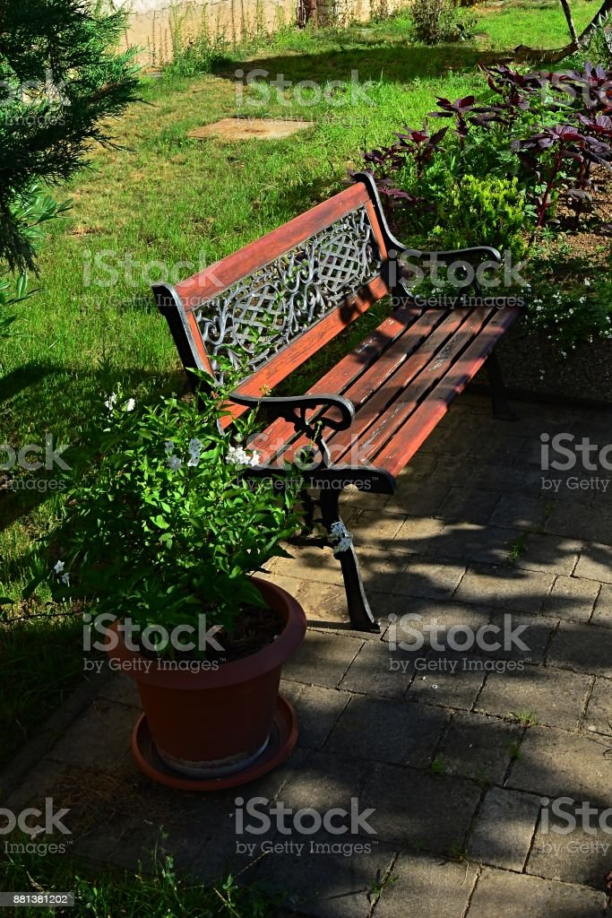 Decorative wooden bench with smithcraft on backrest, placed on tiled floor near cultivated lawn and flower pots stock photo