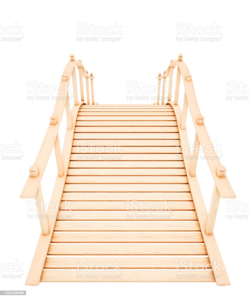Decorative wooden bridge isolated on a white background. 3d rendering. stock photo