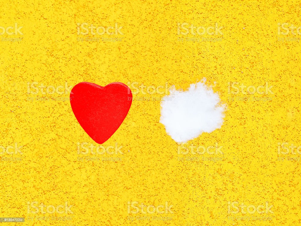 Decorative Wooden Hot Red Heart And White Cold Snow On Bright Yellow ...