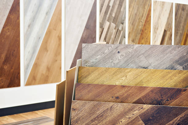 Decorative wooden panels in store stock photo