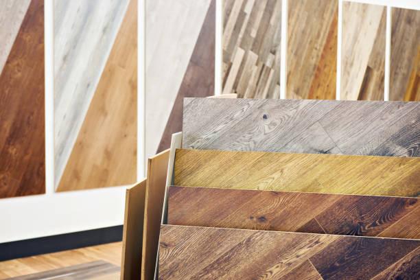 decorative wooden panels in store - pavimento foto e immagini stock
