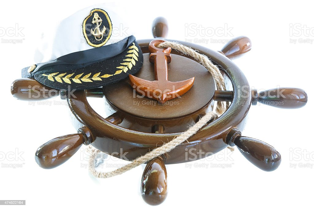 Decorative wooden ship anchored at the helm stock photo