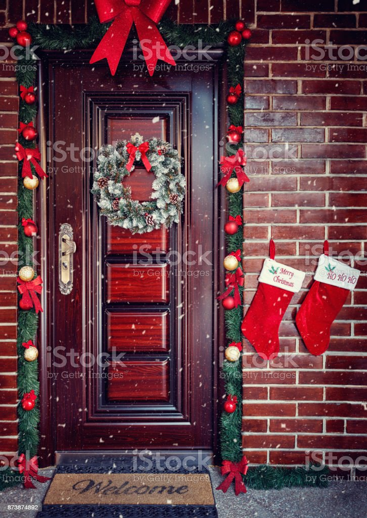 Decorative Wreath Christmas Front Door Stock Photo Download Image Now Istock