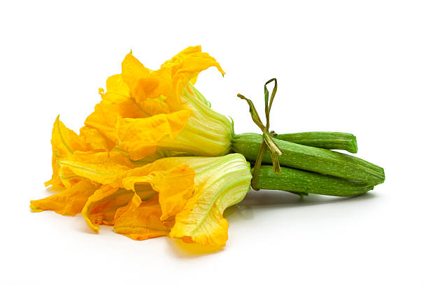 Decorative yellow flowers witch zucchini stock photo
