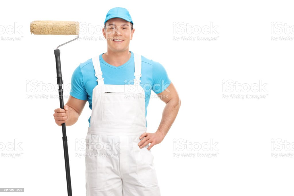 Decorator holding a paint roller stock photo