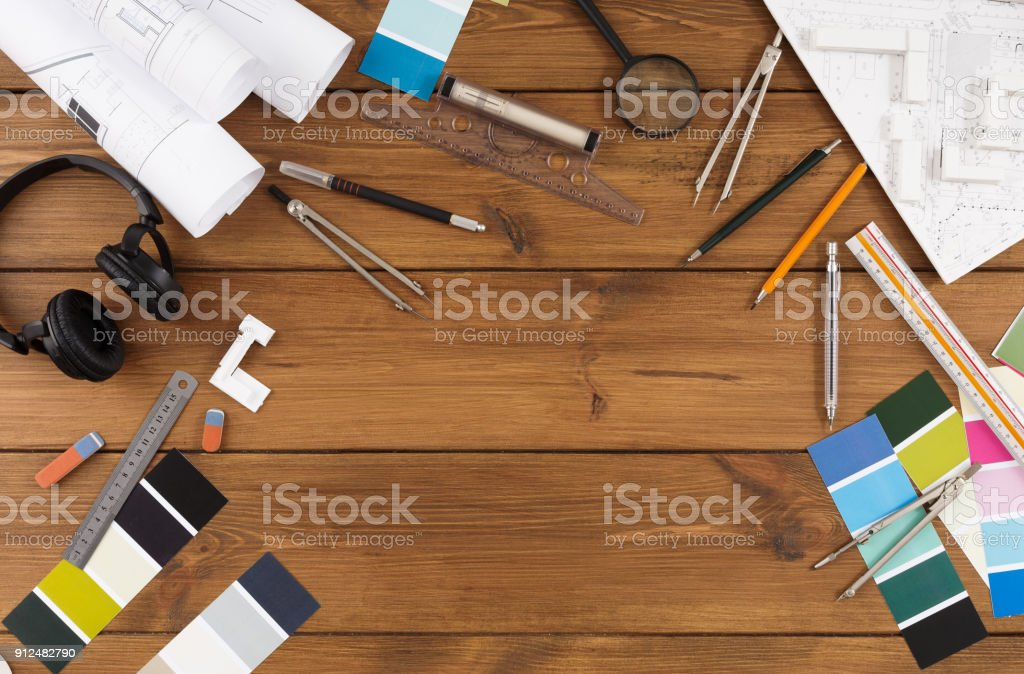 Decorator workplace with color swatches and tools stock photo