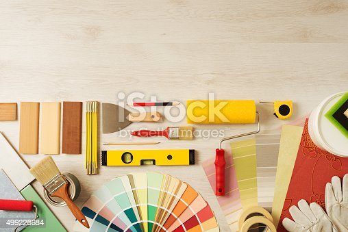istock Decorator's work table with tools 499228684