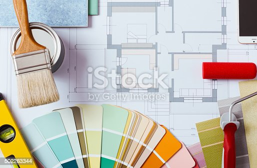 istock Decorator's work table with tools 502263344