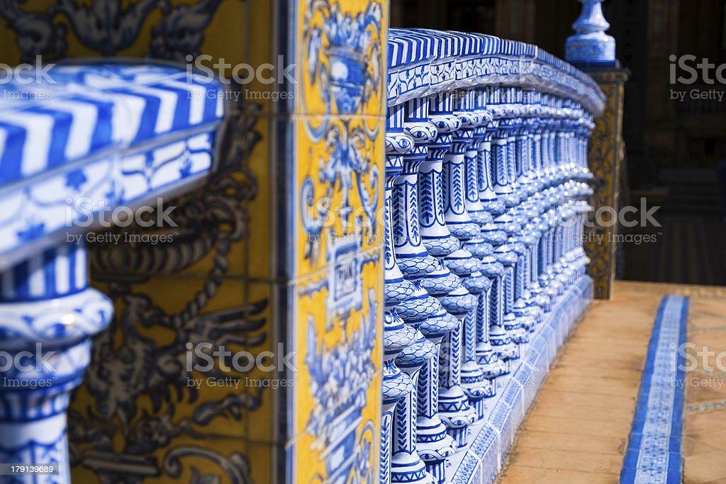 Decor's details in Plaza de Espana, Seville stock photo