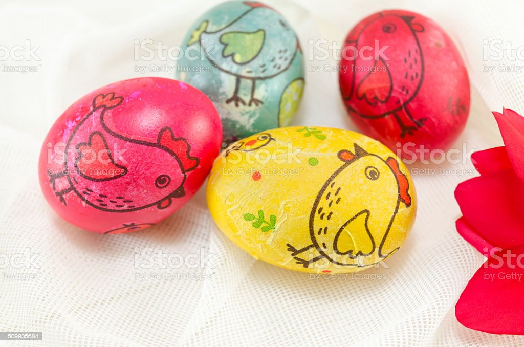 Decoupage decorated colorful Easter eggs stock photo