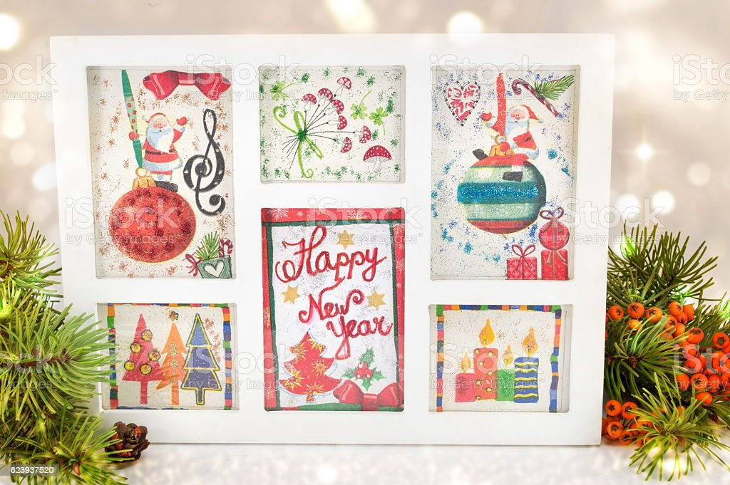 Decoupage New Year decorations made of paper stock photo