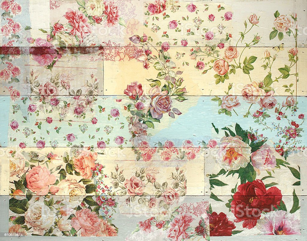 Decoupage wood background with flower pattern stock photo