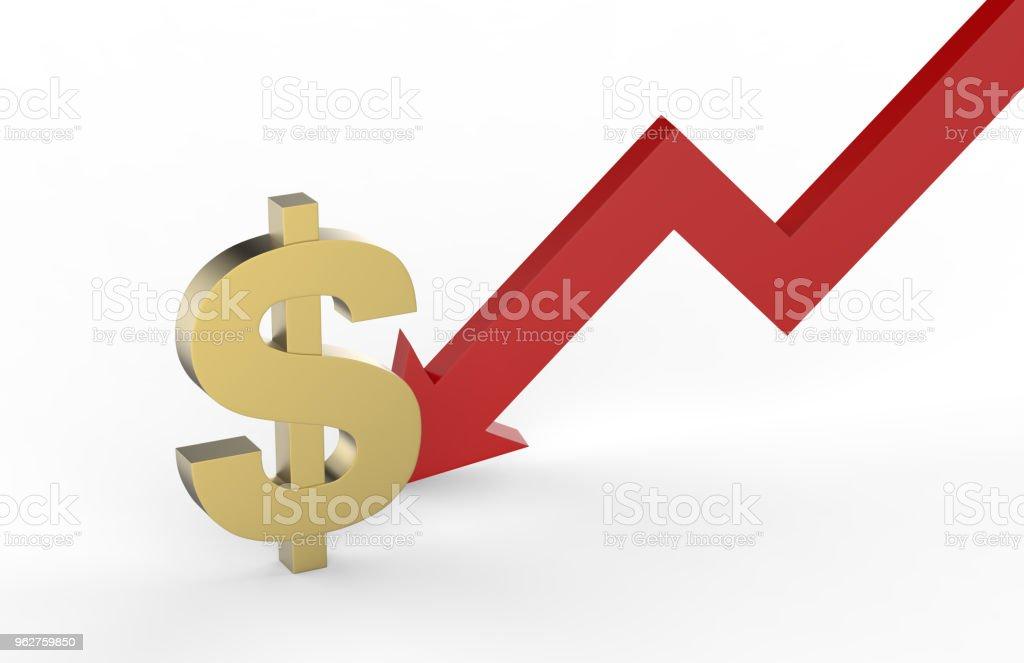 Diminuição do conceito de valor do dólar, cifrão dourado com uma flecha em declínio, ilustração 3d - Foto de stock de Baixo - Posição royalty-free