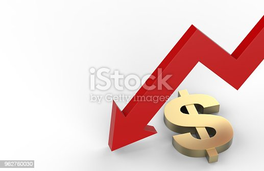 842160218istockphoto Decrease in dollar value concept, golden dollar sign with a declining arrow, 3d illustration 962760030