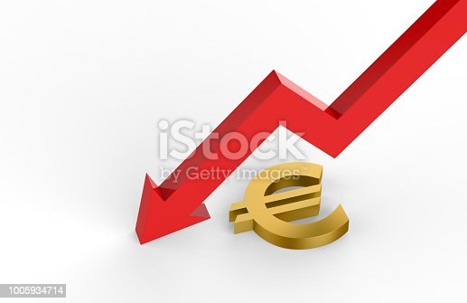 842160218istockphoto Decrease in EURO value concept, golden EURO sign with a declining arrow, 3d illustration 1005934714
