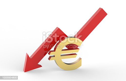 842160218istockphoto Decrease in EURO value concept, golden EURO sign with a declining arrow, 3d illustration 1005934800