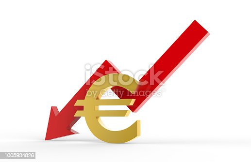842160218istockphoto Decrease in EURO value concept, golden EURO sign with a declining arrow, 3d illustration 1005934826