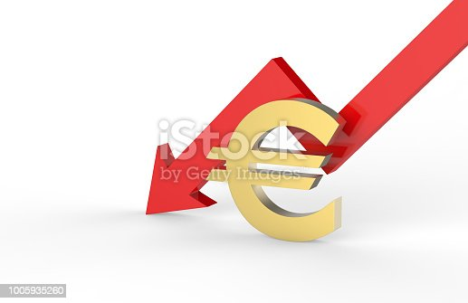 842160218istockphoto Decrease in EURO value concept, golden EURO sign with a declining arrow, 3d illustration 1005935260