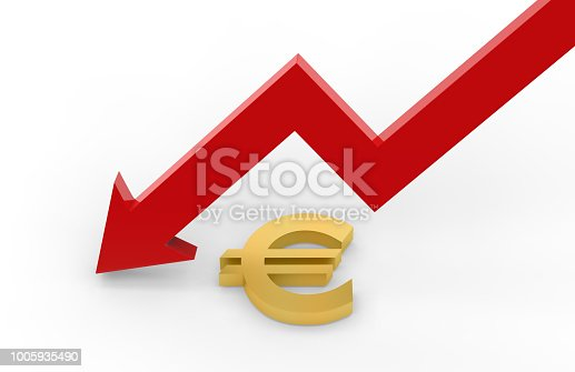 842160218istockphoto Decrease in EURO value concept, golden EURO sign with a declining arrow, 3d illustration 1005935490
