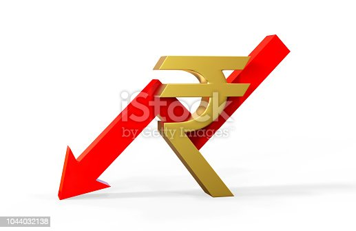 istock Decrease in rupee value concept, golden rupee sign with a declining arrow, 3d illustration 1044032138