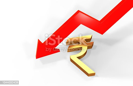 istock Decrease in rupee value concept, golden rupee sign with a declining arrow, 3d illustration 1044032428