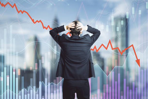 Decrease, investment and economy concept stock photo