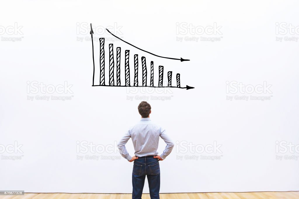 decrease of sales and profit, bankruptcy business concept stock photo