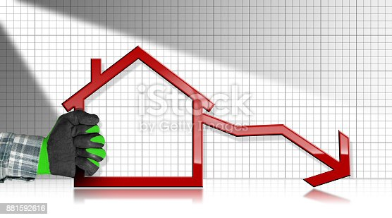 istock Decreasing Real Estate Sales - Graph with House 881592616