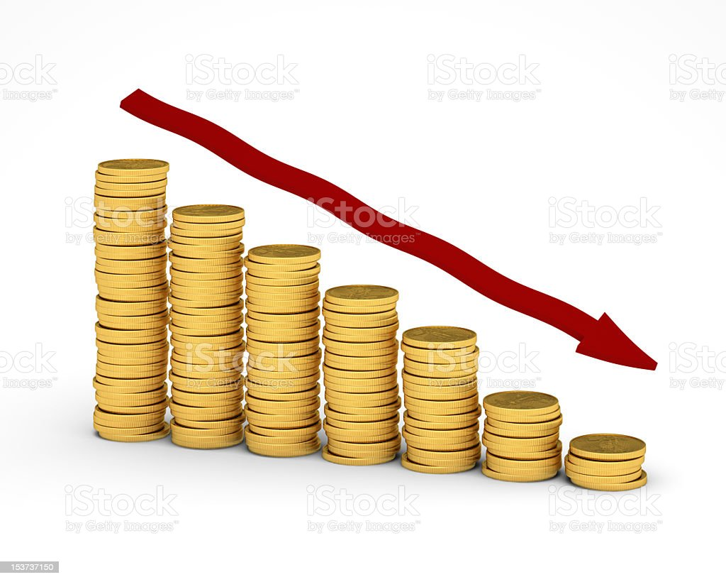 Decreasing size of piles of coins with red arrow going down royalty-free stock photo