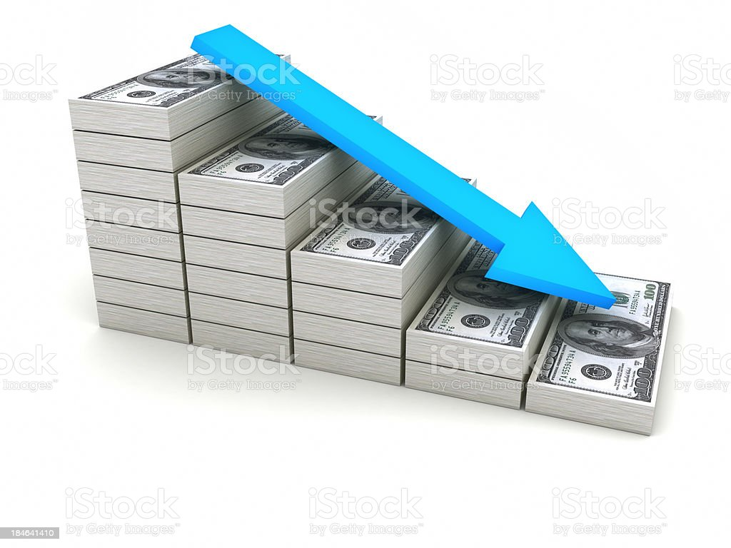 Decreasing value of Dollar. stock photo