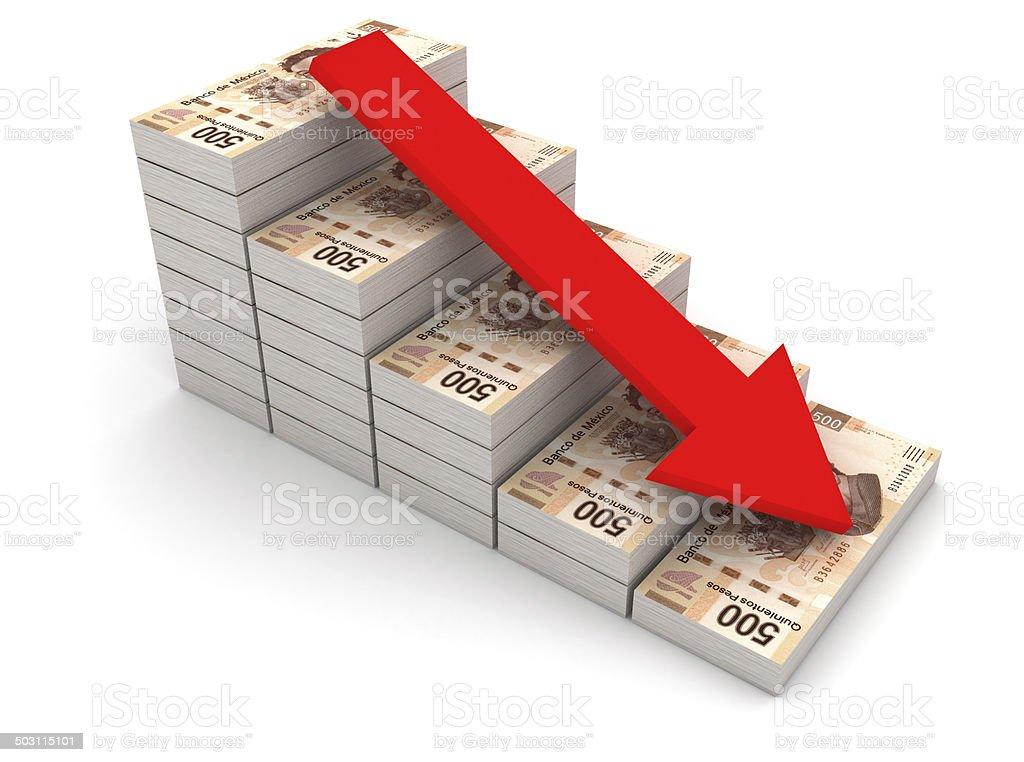 Disminuir valor de peso mexicano. - foto de stock