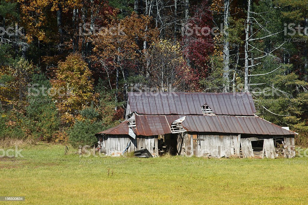 Decrepit Barn in Fall royalty-free stock photo