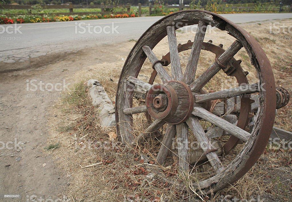 Decrepit old wagon wheel by roadside royalty-free stock photo