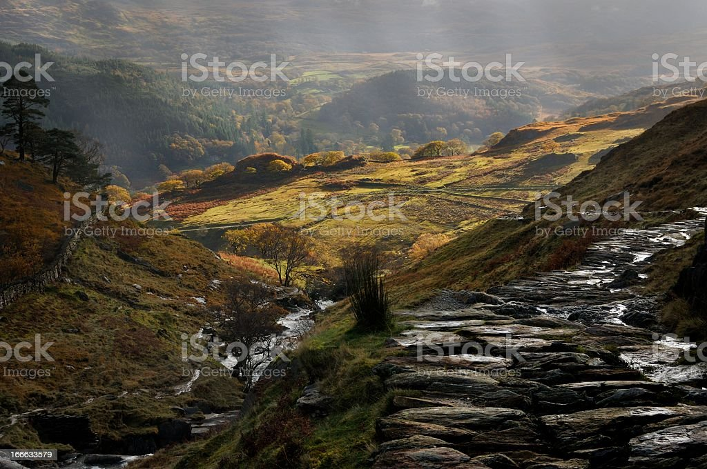 Decsending off Snowdon royalty-free stock photo