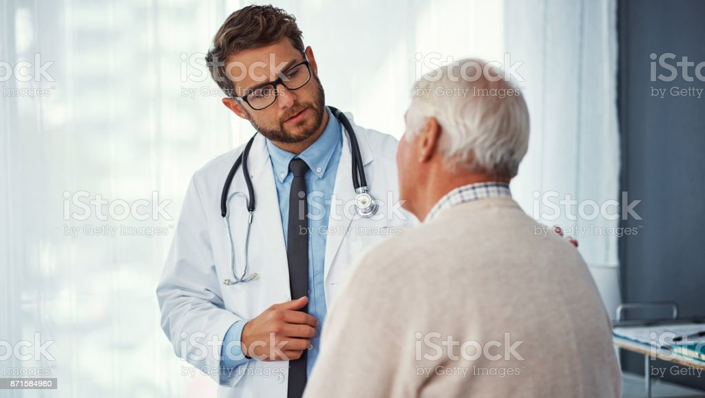 Dedicated to his patient's health and wellbeing stock photo