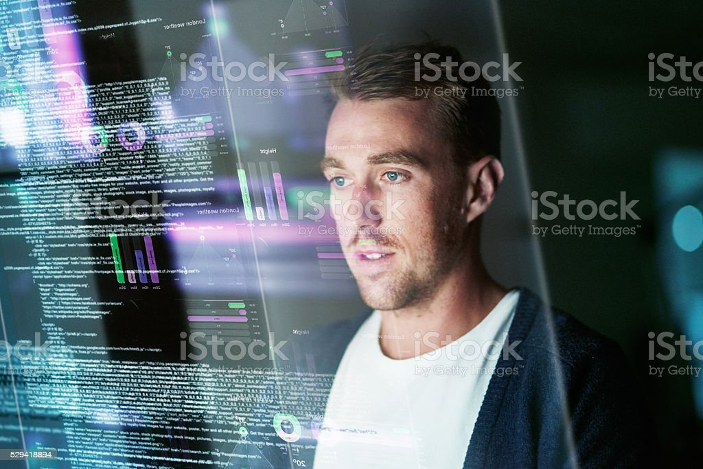 Dedicated to software development stock photo