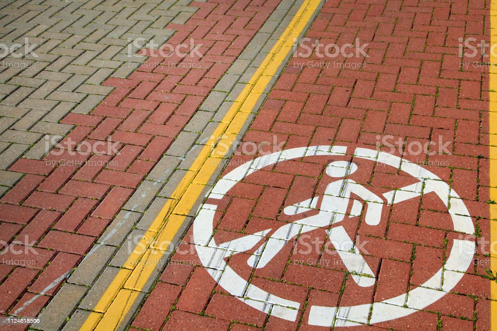 Dedicated track for bicycles, no sign for pedestrians