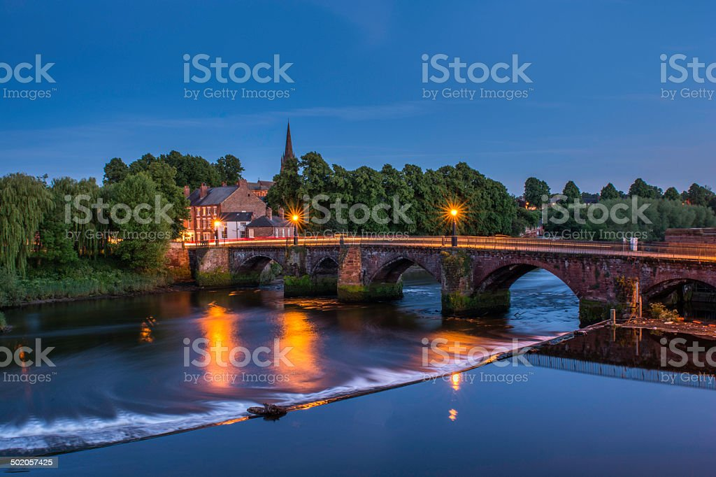 Dee Bridge in Chester at Dusk stock photo