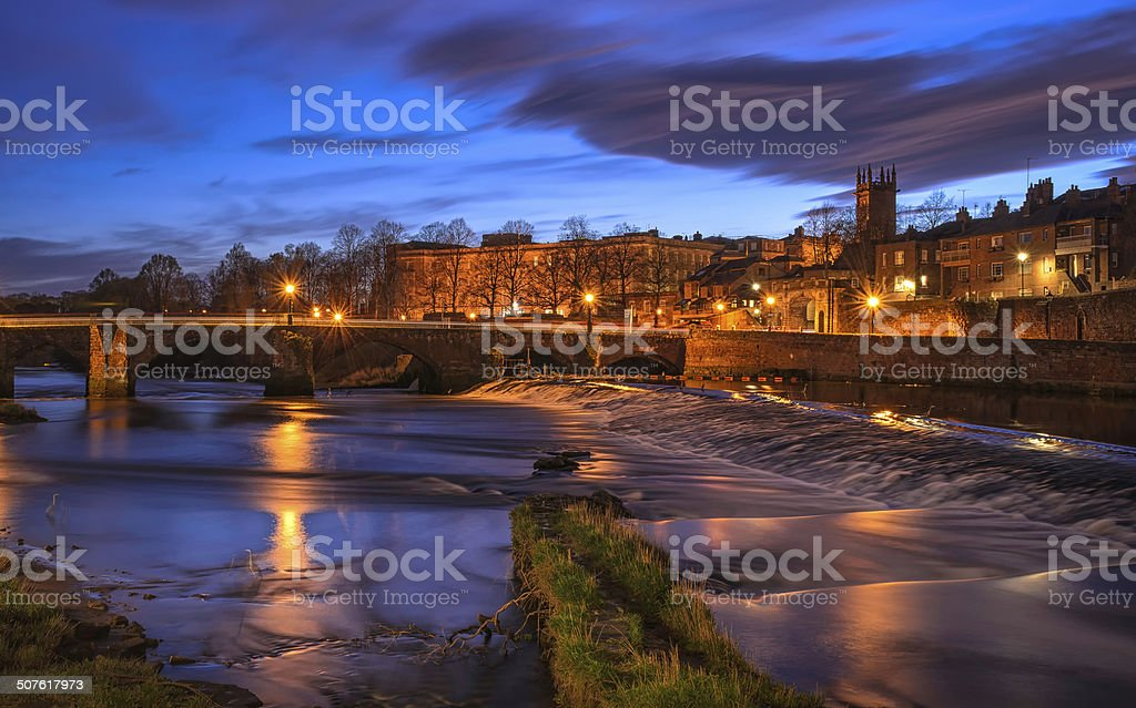 Dee Bridge in Chester at Night stock photo
