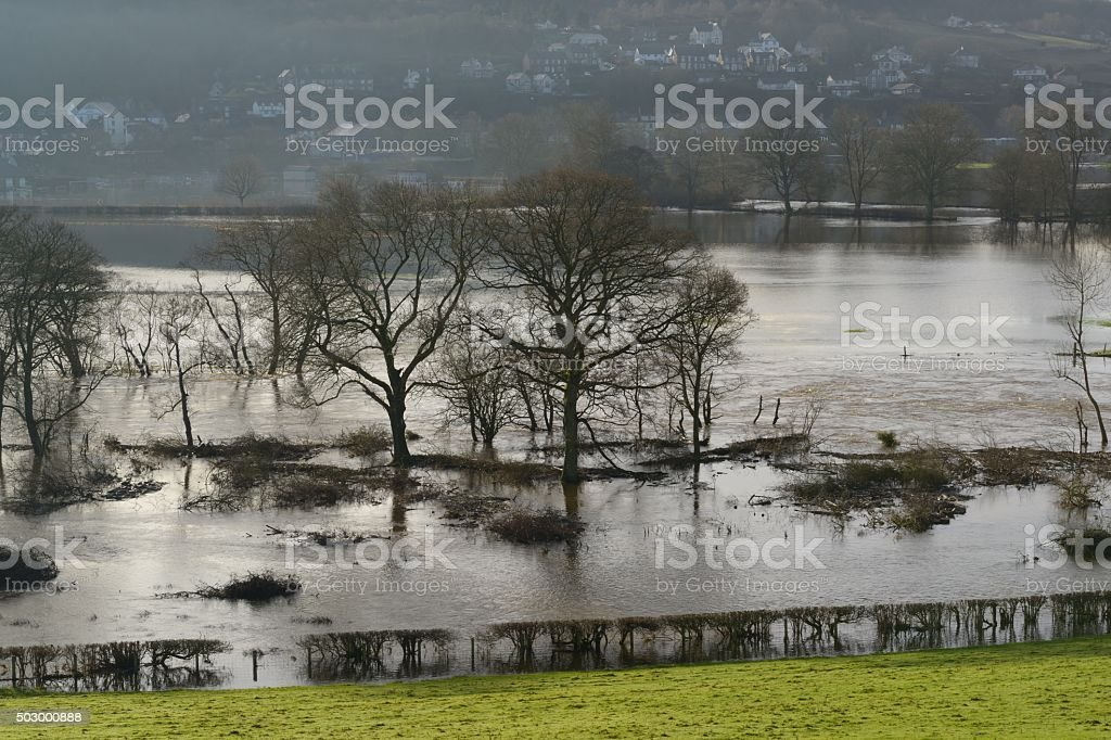 Dee Valley at Corwen flooded stock photo