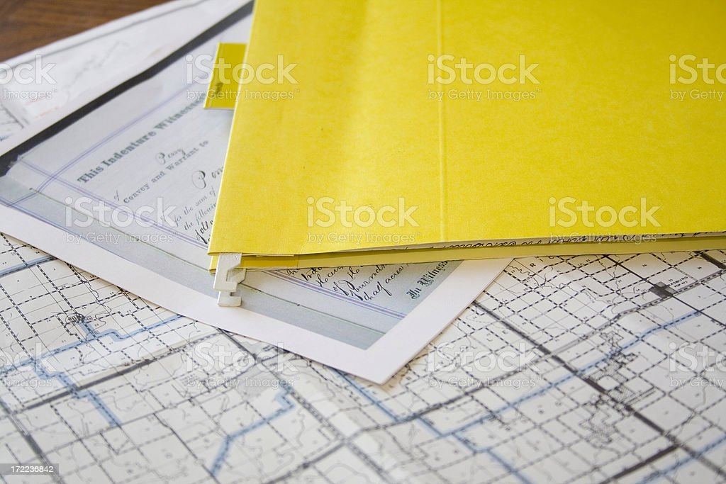 Deeds and Map stock photo