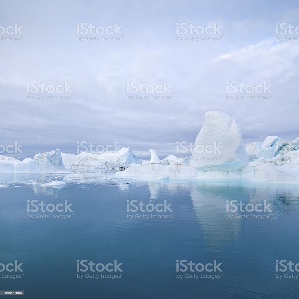 Deep Blue Arctic Icebergs Greenland stock photo