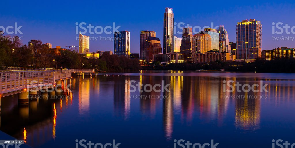 Deep Blue Colorful Sunrise Austin Cityscape Perfection stock photo