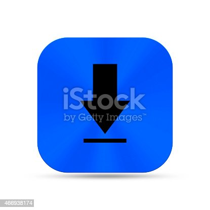 istock Deep blue metal buttons with arrow down icon 466938174