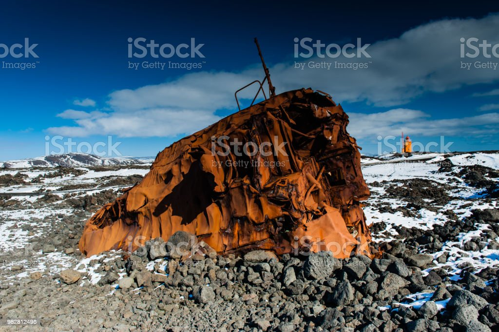 Deep Blue Sky Is Covering A Crashed Ship Wreck With A