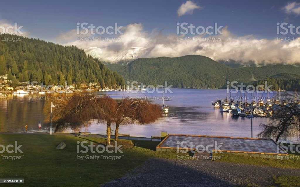 Deep Cove and Indian Arm North Shore Mountains Vancouver BC stock photo